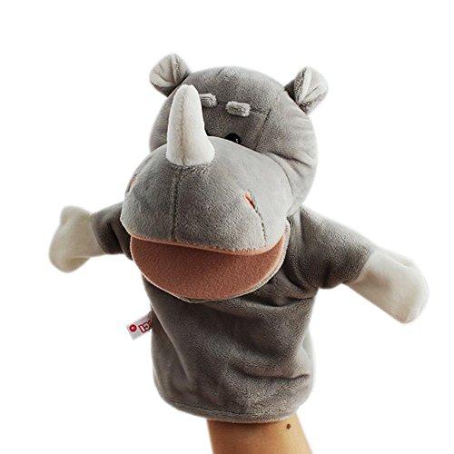 JER Marionetas de Mano,Peluche de Mano,Juquete Felpa de Mano de Dedo Diseño de Animal Lindo Peluche para bebé(Rinoceronte)
