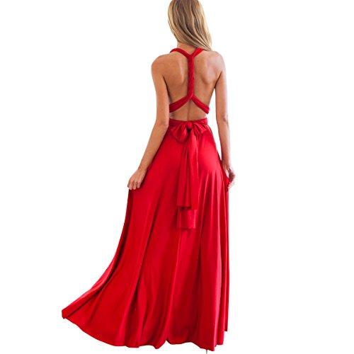 IBTOM CASTLE Femme Robe Longue de Cérémonie Chic Robe Ado Multi-Style Sexy Taille Haute sans Manche Robe Fille d'Eté Bandage de Soirée Cocktail Demoiselle d'honneur Mariage Fête Aniversaire Rouge S