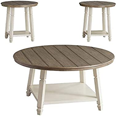 Antique Wooden Round Coffee Table Set
