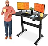 Stand Steady Tranzendesk | Pneumatic Standing Desk with Detachable Wheels| Height Adjustable Sit to Stand Workstation | Modern Ergonomic Stand Up Desk for Home & Office (48 Inch / Black)