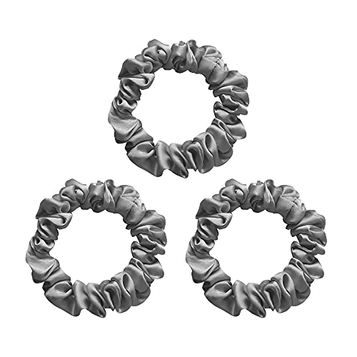 100% Mulberry Silk Hair Scrunchies,Best For Women And Girls'Hair,Elastic Hair Bands For Ponytail Holder.Gentle And No Hurt. (3 Pack,Gray)