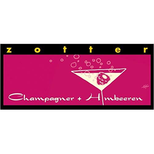Zotter Bitterschokolade mit Champagner & Himbeeren, handgeschöpft (70 g) - Bio