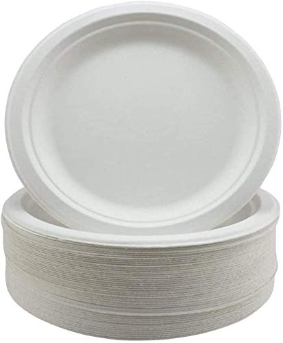 Pack of 50 Large Premium Quality Strong Plates Super Rigid Bagasse Plates Biodegradable & Compostable ECO Friendly Dinner Party Plates 9 inch Perfect for Everyday USE Party Picnic BBQ Work