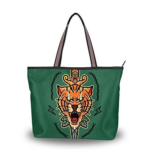 Bolso de hombro para mujer de seda romana de tela de poliéster de primera calidad bolsos de gran capacidad de trabajo de 15.5 pulgadas bolsa de viaje bolsa casual Old School Tiger Tattoo