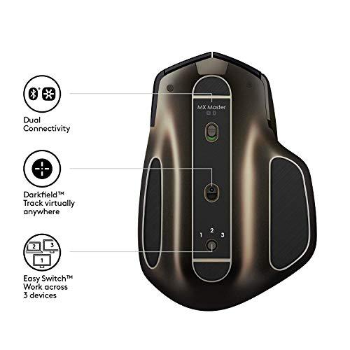 Logitech MX Master Kabellose Maus Amz, Bluetooth/2.4 GHz Verbindung via Unifying USB-Empfänger, 1000 DPI Sensor, Wiederaufladbarer Akku, Multi-Device, Für alle Oberflächen, 5 Tasten, PC/Mac - schwarz - 7