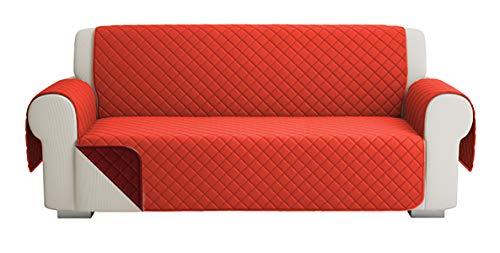 Fundas para Sofa Acolchado, Funda De Sofas 3 Plazas (170 CM), Cubre Sofa Reversible Bicolor, Rojo / Naranja