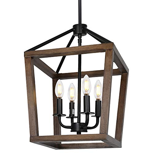 4-Light Rustic Chandelier, Adjustable Height Lantern Pendant...