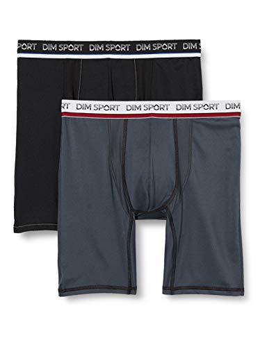 Dim Men's Sport Boxer Long Micro Fibre X1 Shorts, Gris/Noir, Large Lot de 2, 4 FR