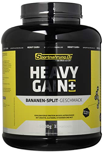Sportnahrung.de Heavy Gain - der Top Weight Gainer angereichert mit Creatin, Glutamin, Vitaminen und MCT Bananensplit, 5000 g
