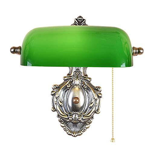 LANMOU Lámpara de Pared Retro, Lámpara de Banquero Diseño Tradicional, E27 Aplique de Pared de Cabecera con Interruptor de Cadena de Extracción y Pantalla de Cristal Verde