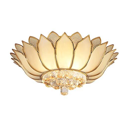 Lámpara de techo Brillante 55 cm Dormitorio Cobre salón lámpara de Cristal Led de Ahorro de energía Restaurante en casa Sala de Estudio iluminación Robusto