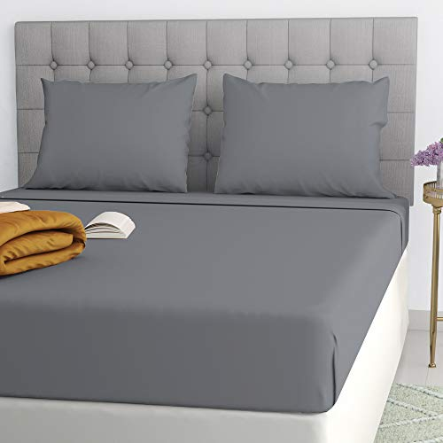 Filo Magico Fitted Sheet Deep Bed Fitted Sheet 16'/40cm Percale Quality 100% Poly Cotton Grey/Charcoal Single Double 4FT King Super King (Grey/Charcoal, Super King)