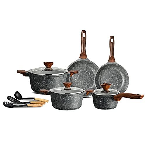 ilimiti 11 PCS Utensili da cucina Pentole e Casseruole, adatto per tutti fornelli include induzione e gas(11pcs SET)