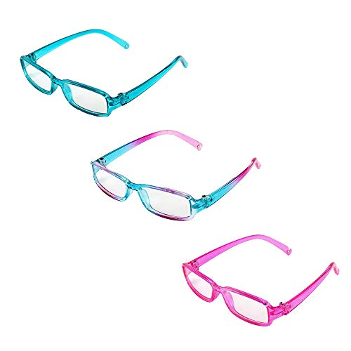 Three Pairs Multicolored Reading Glasses | Fits 18' American Girl Dolls, Madame Alexander, Our Generation, etc. | 18 Inch Doll Accessories