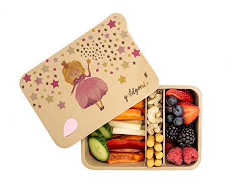 goldgoods Bento Lunchbox aus Reishülsen - hochwertige Jausenbox für Kinder - nachhaltige Brotdose mit verschiedenen Fächern - Zero Waste - mit verspieltem Prinzessin-Motiv