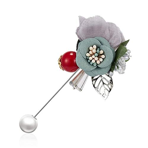 Accesorios de broche de aleación de cristal de diamantes de imitación con lazo de flor rosa de tela de colores triples dobles para traje de abrigo