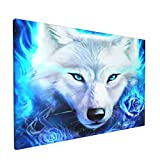 Aieefun Canvas Wall Decor Art Painting Print, Blue Fire Rose Ice Wolf Galaxy Fantasy Home Decoration Artwork Framed Picture Ready to Hang 12x18 Inches