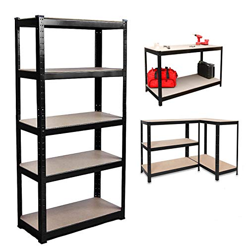 150x70x30cm, Black 5 Tier Shelving Rack, 175kg Capacity Per Shelf, Boltless Freestanding Shelves for Garage Home Storage Shed Warehouse