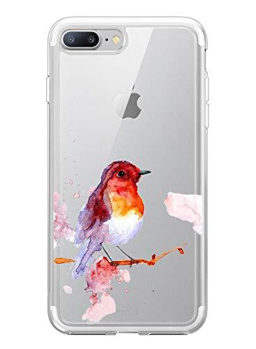 Suhctup Compatibile per iPhone 6 / 6S 4.7', Cover iPhone 6 Trasparente Silicone Antiurto Custodia con Animale Disegni, Ultra Sottile TPU Gel Protettivo Case, Sparrow