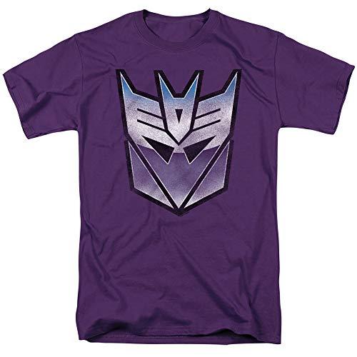 Transformers Retro Decepticon Logo Unisex Adult T-Shirt for Men and Women, Purple, 2X-Large