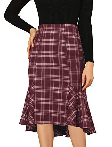 Allegra K Women's Vintage Tartan High Low Ruffle Hem Fishtail Midi Plaid Skirt Red 16