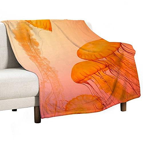 Mantas para Sofás de Franela, Manta Polar súper Suave Cálido para Manta Cama Microfibra de Piel difusa Naranja 100x130 cm (WxH)