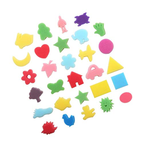 STOBOK DIY Painting Sponges, 30pcs Assorted Pattern and Color Graffiti Sponges Painting Tools for Graffiti Drawing Painting|7x7x0. 8 cm