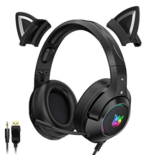 LIANTA K9 Wired Cat Ear Headphones with HiFi 7.1 Channel Music and LED Glowing Light Gaming Headset Gift Women Girl&Kids for PC Computer,Black