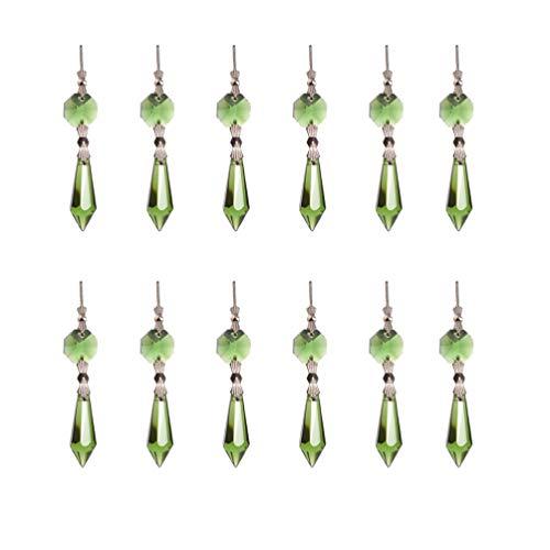 Healifty Araña de Lágrima de Cristal Prisma Colgantes Perlas de Cristal de Carámbano Suncatchers para Cortina de Lámpara de Luz Manualidades Diy 20 Piezas (Verde)