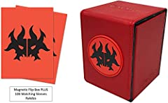 Deck Protector sleeves protects your valuable trading cards Featuring Rakdos guild artwork from Ravnica 100 matching individual sleeves Deck Box holds up to 100 standard size gaming cards double sleeved You'll receive 100x Sleeves + 1x Magnetic Alcov...