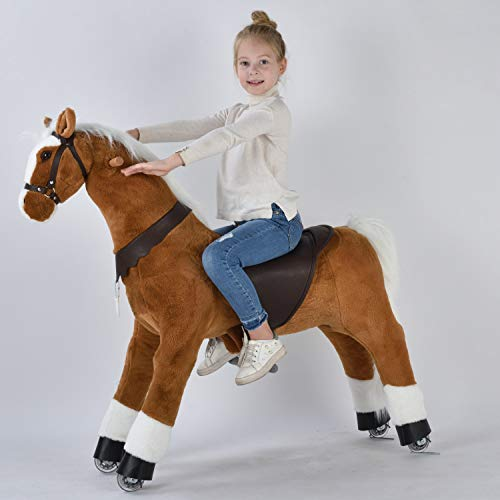 UFREE Large Ride on Horse Toy, Ride on Bounce up and Down and Move, 44 inch for Children 6 to Adult (White Mane and Tail)