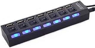 Triamisu 7 Porte Adattatore USB 2.0 Hub Multi-interfaccia ad Alta velocità Accensione/spegnimento Indicatore Luminoso Indi...