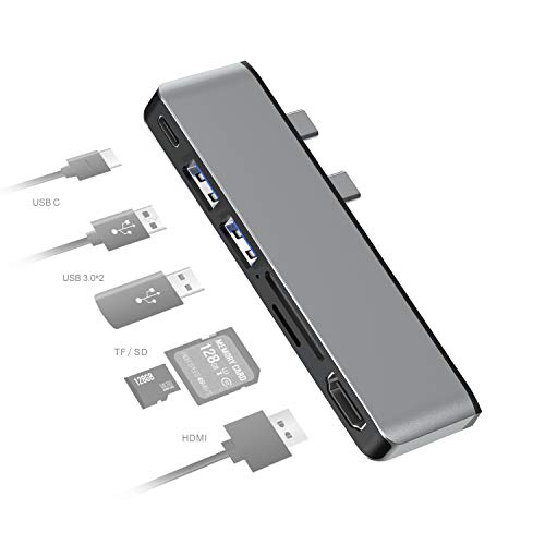 Docking Station for Surface Pro X,Multi-function Converter Adapter,6-in-2 Aluminum Adapter Dock with 2 USB 3.0,4K HDMI,Type-c,SD/TF Card Reader Compatible for Surface Pro X