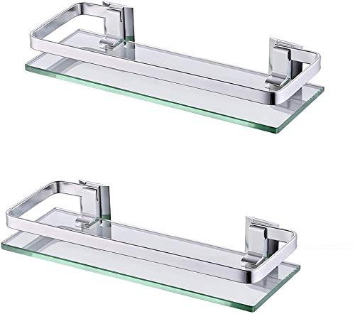 UMI. por Amazon Estanterías para baño Bandeja de Baño Rectangular de Vidrio Templado Cesta de Ducha Organizador de Baño Aluminio 2 Paquetes, A4126A-P2