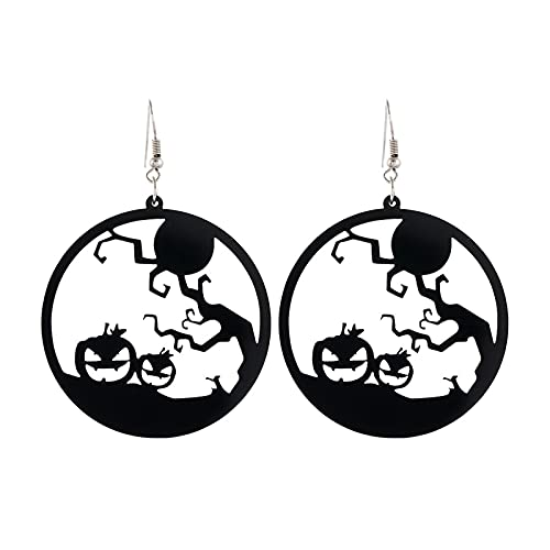 Mengove Mode Halloween Party Kreative Horror Anhänger Damen Geschenke Halloween Schmuck Skull Fledermaus Geist Hexe Schwarze Katze Silhouette Silhouette Festliche Atmosphäre Ohrringe