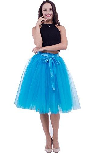 FOLOBE Falda de tutú de Las Mujeres Midi Tulle Faldas 7 Capas de Falda de Falda de Underskirt con el cinturón elástico para el Banquete de Boda