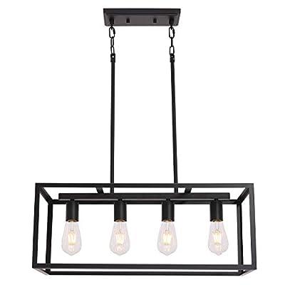 VINLUZ Rectangular Metal Chandelier.6 Light Black Linear Industrial Pendant Lights Cage Island Ceiling Lighting Fixture for Dining Room Kitchen