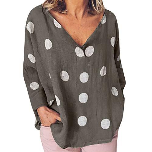 Damen Leinenblusen Langarmshirt,Frau Lässige Polka Dot Bluse Lose V-Ausschnitt Shirt Langarmshirts Damen Mode Lose Baumwolle Leinen Feste Tägliche Beiläufige Hemd Bluse Tops