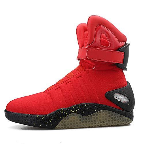 JXILY Zapatos LED Zapatos Ligeros de Carga Zapatos Que Destellan del LED Zapatos Ligeros de Carga por USB Zapatos de los Hombres Superiores Altos Zapatos Casuales,Rojo,44