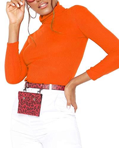 Re Tech UK - Damen Rollkragenpullover - langärmlig - gerippte Baumwolle - einfarbig - Orange - S/M (36/38)