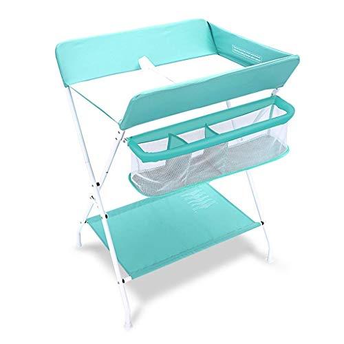 Living Equipment Table Station de table pliante portative pour bébé avec des unités de couches de massage de stockage pour petit organisateur de chambre d'enfant pour nourrisson (Couleur: Vert Tail