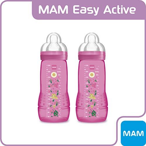 MAM ZEDMM902F Easy Active, Set 2 Biberon con tettarella MAM flusso rapido, 4+ mesi, 330 ml, rosa