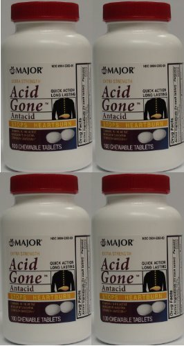 Acid Gone Antacid Chewable Generic for Gaviscon Extra Strength Chewable Tablets 100 Ct. Per Bottle Pack of 4 Bottles Total 400 Tablets by Major Pharmaceuticals