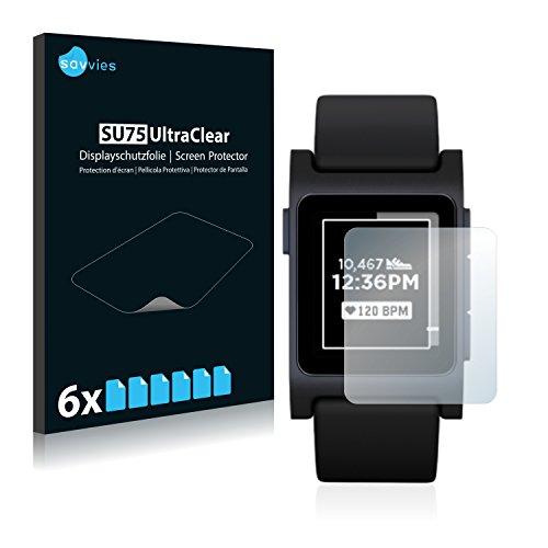 Savvies 6X Schutzfolie kompatibel mit Pebble 2 Black Bildschirmschutz-Folie Ultra-transparent