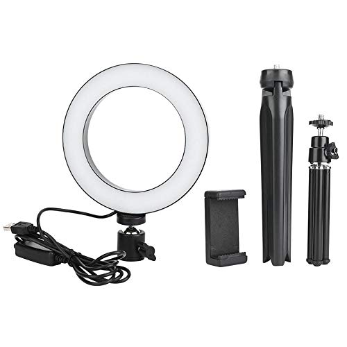 Qiilu 16cm LED Dimbare LED Video Ring Light, Camera Lamp Kit met Desktop Statief Gsm-houder USB-poort