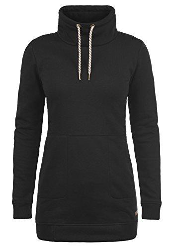DESIRES Vilma Damen Langes Sweatshirt Pullover Longpullover Mit Stehkragen, Größe:S, Farbe:Black (9000)