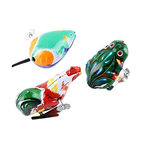 YeahiBaby Juguetes de Cuerda Saltar de Hierro Diseño de Animal Rana Pollo y Ratón Niños 3pcs