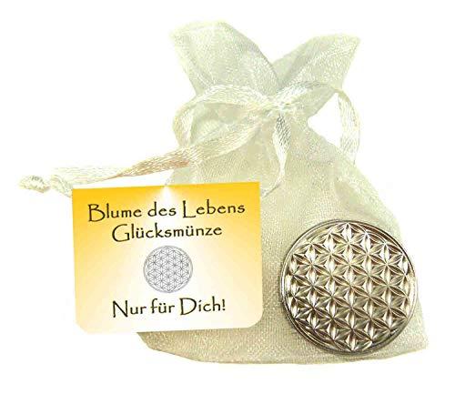 EnerChrom Blume des Lebens Glücksmünze Nur für Dich - 1 Stück Farbe Silber - Glücksbringer Lebensblume Talisman Münze