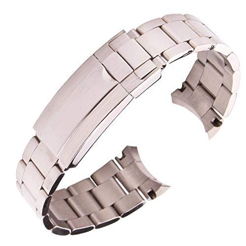 Correa de Reloj Correas de Reloj de Acero Inoxidable 316L Pulsera 20Mm Plata Eslabones de Tornillo Cepillado Extremo Curvo Correa de Reloj de Metal Correa S0061 Compatible con Relojes