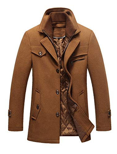 Lavnis Men's Winter Wool Coats Slim Fit Single Breasted Trench Jacket Woolen Pea Coat Khaki L